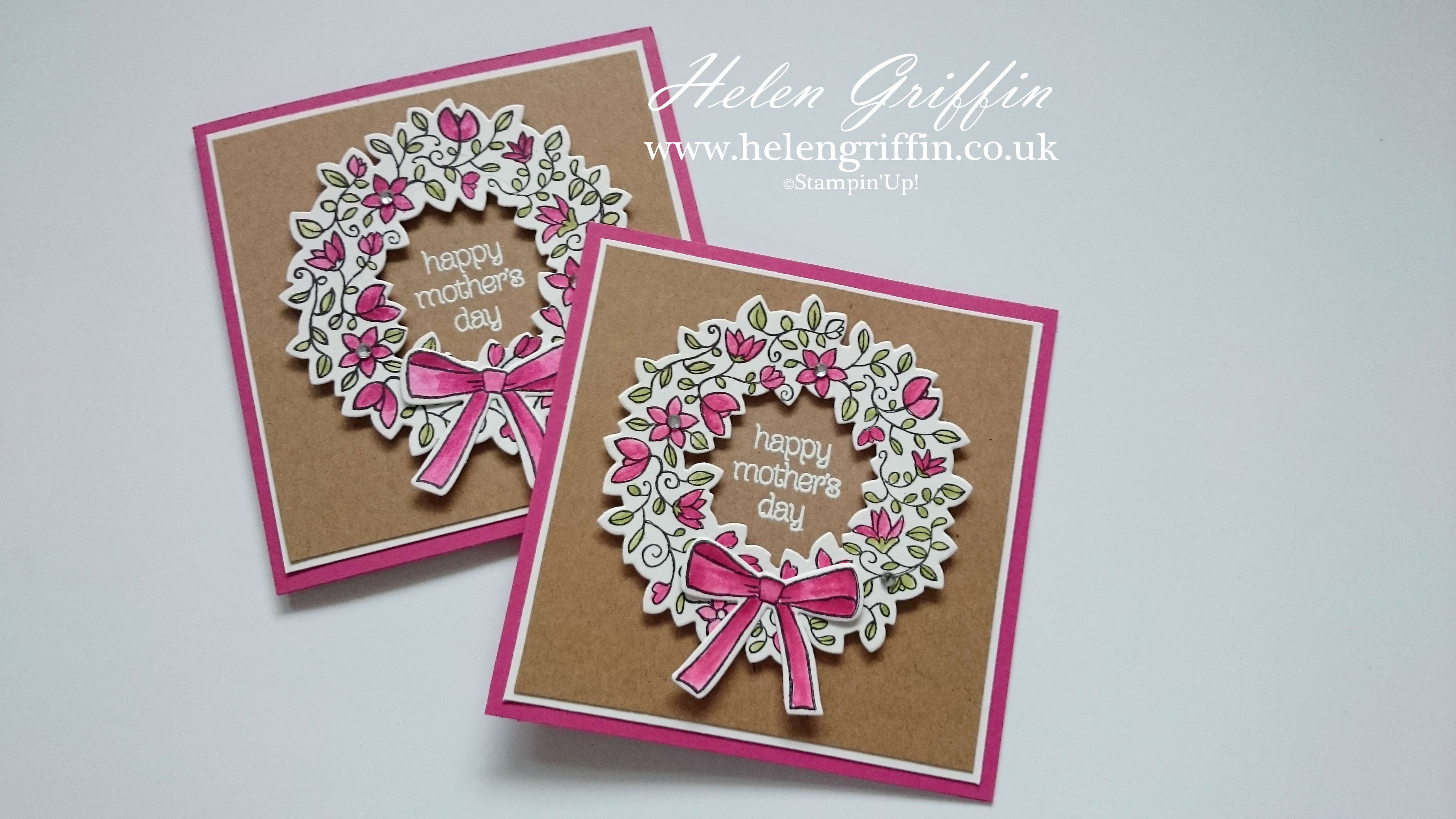 Tutorial Stampin Up Mother s Day Wreath Card Helen
